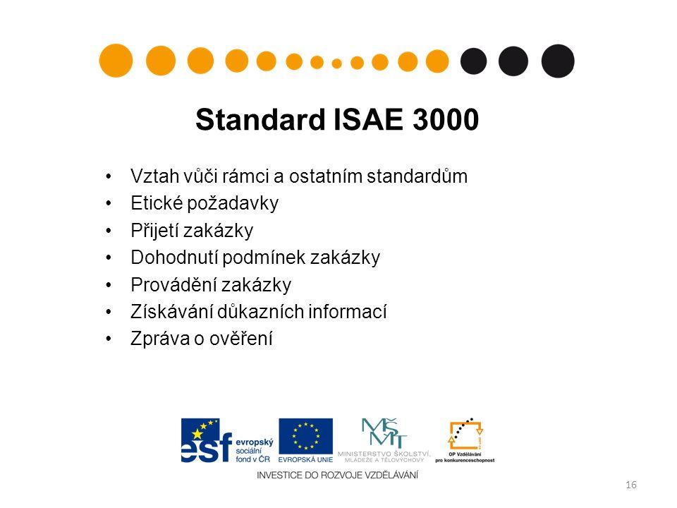 Standard ISAE 3000 Vztah vůči rámci a ostatním standardům Etické požadavky Přijetí zakázky Dohodnutí podmínek zakázky Provádění zakázky Získávání důkazních informací Zpráva o ověření 16