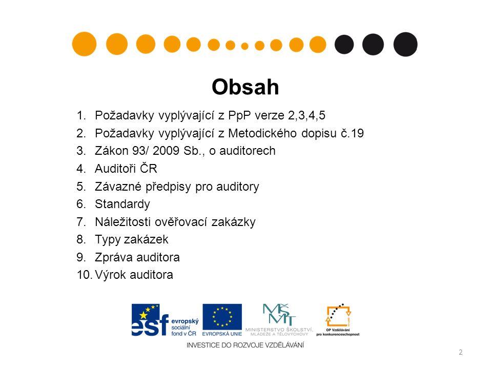 Auditoři ČR Komora auditorů ČR - profesní organizace založená na základě Zákona č.