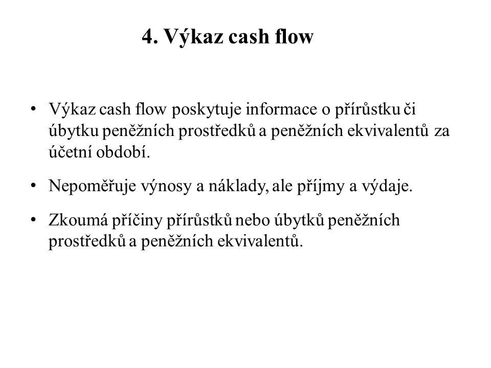 4. Výkaz cash flow Výkaz cash flow poskytuje informace o přírůstku či úbytku peněžních prostředků a peněžních ekvivalentů za účetní období. Nepoměřuje