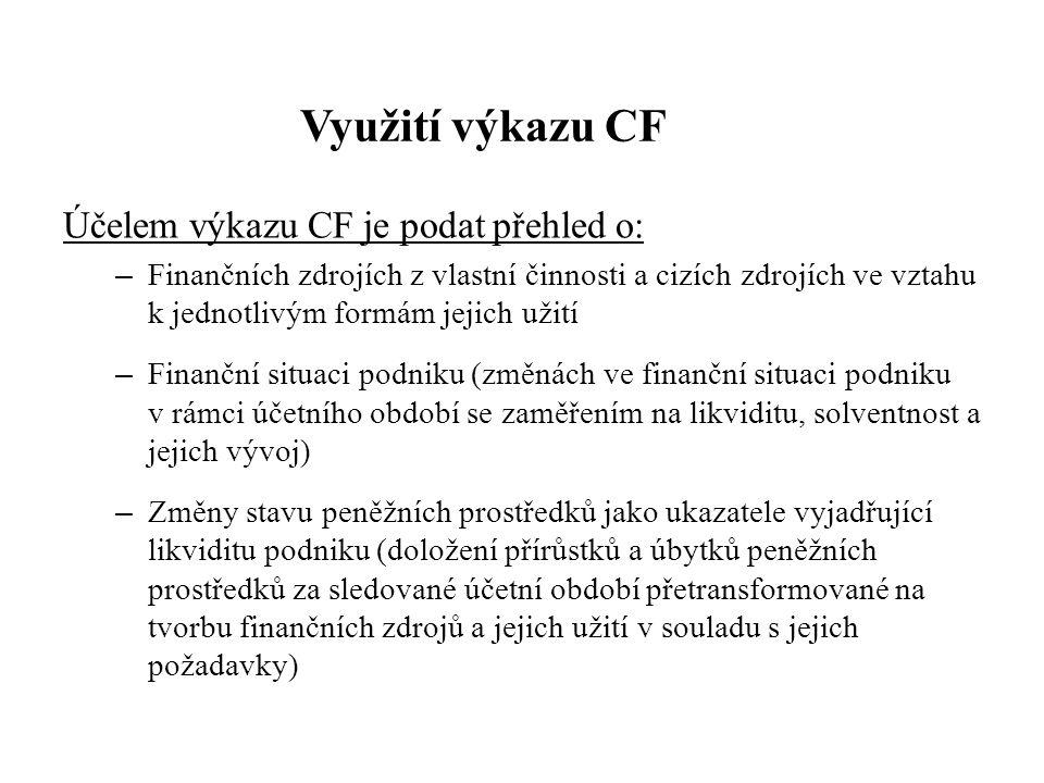 Využití výkazu CF Účelem výkazu CF je podat přehled o: – Finančních zdrojích z vlastní činnosti a cizích zdrojích ve vztahu k jednotlivým formám jejich užití – Finanční situaci podniku (změnách ve finanční situaci podniku v rámci účetního období se zaměřením na likviditu, solventnost a jejich vývoj) – Změny stavu peněžních prostředků jako ukazatele vyjadřující likviditu podniku (doložení přírůstků a úbytků peněžních prostředků za sledované účetní období přetransformované na tvorbu finančních zdrojů a jejich užití v souladu s jejich požadavky)