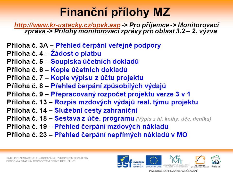 18 Finanční přílohy MZ http://www.kr-ustecky.cz/opvk.asphttp://www.kr-ustecky.cz/opvk.asp -> Pro příjemce -> Monitorovací zpráva -> Přílohy monitorovací zprávy pro oblast 3.2 – 2.
