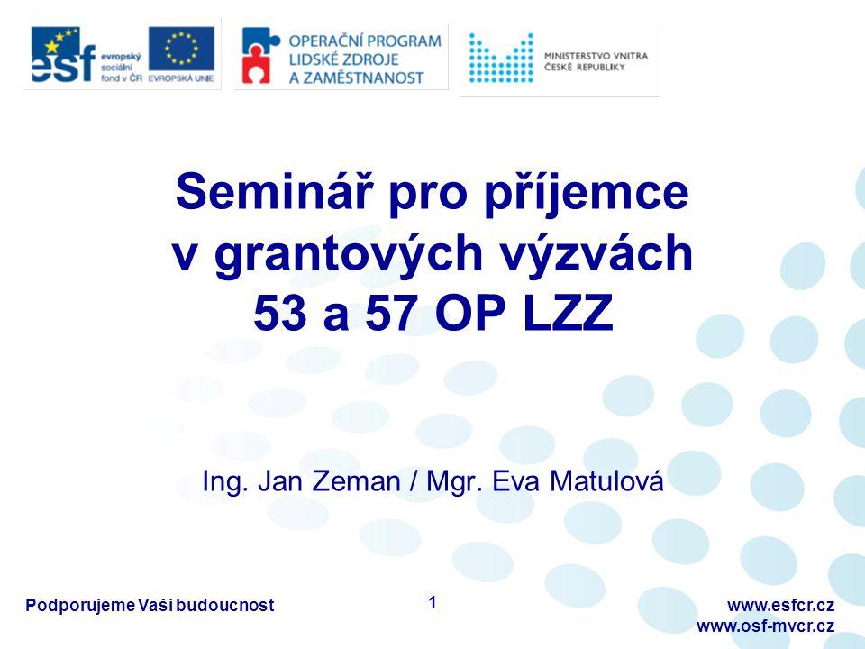 Monitorovací zprávy (MZ) Zpráva o zahájení realizace projektu –bez ŽoP (bez žádosti o platbu) Průběžná monitorovací zpráva (MZ) s ŽoP –MZ bez ŽoP, pokud nebyly realizovány žádné výdaje Mimořádná monitorovací zpráva (MMZ) s ŽoP Závěrečná monitorovací zpráva s ŽoP Tip pro příjemce: Manuál úspěšného žadatele a příjemce http://www.osf- mvcr.cz/op-lzz-1http://www.osf- mvcr.cz/op-lzz-1 Podporujeme Vaši budoucnostwww.esfcr.cz www.osf-mvcr.cz 12