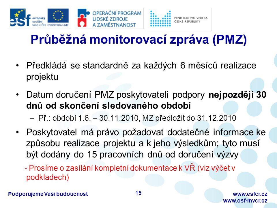 Průběžná monitorovací zpráva (PMZ) Předkládá se standardně za každých 6 měsíců realizace projektu Datum doručení PMZ poskytovateli podpory nejpozději 30 dnů od skončení sledovaného období –Př.: období 1.6.