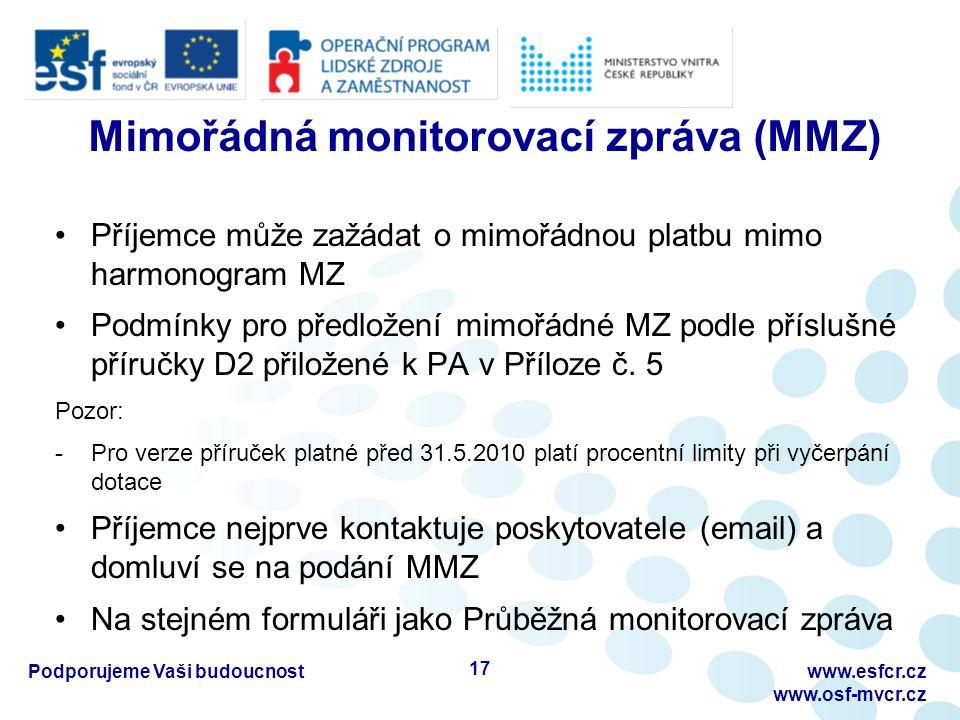 Mimořádná monitorovací zpráva (MMZ) Příjemce může zažádat o mimořádnou platbu mimo harmonogram MZ Podmínky pro předložení mimořádné MZ podle příslušné příručky D2 přiložené k PA v Příloze č.