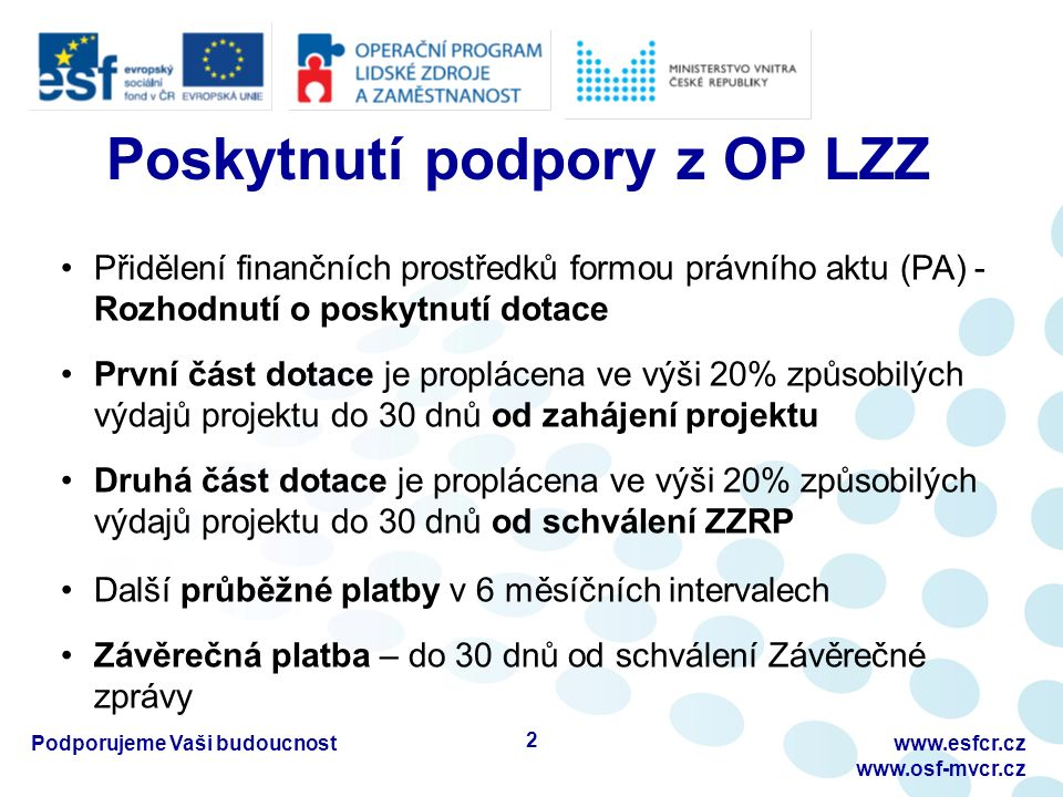 Zpráva o zahájení realizace projektu (ZZRP) Překládá se za první 2 měsíce realizace projektu Formulář ZZRP ke stažení na http://www.osf- mvcr.cz/folder/477/http://www.osf- mvcr.cz/folder/477/ Postup pro vyplnění popsán v Pokynech pro vyplnění monitorovacích zpráv - D10 Desatera OP LZZ ZZRP se nezpracovává v Benefitu, předkládá se v listinné podobě (1x originál) + elektronicky emailem nebo na CD Upozornění pro příjemce: -Listy MZ i listy jednotlivých příloh musí být pevně spojeny a podepsány -Neúplné nebo špatně vyplněné MZ se vrací pouze 1x Podporujeme Vaši budoucnostwww.esfcr.cz www.osf-mvcr.cz 13