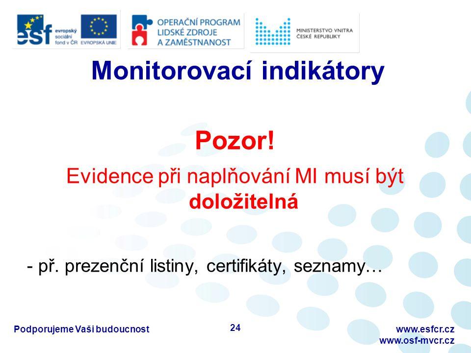 Monitorovací indikátory Pozor.Evidence při naplňování MI musí být doložitelná - př.