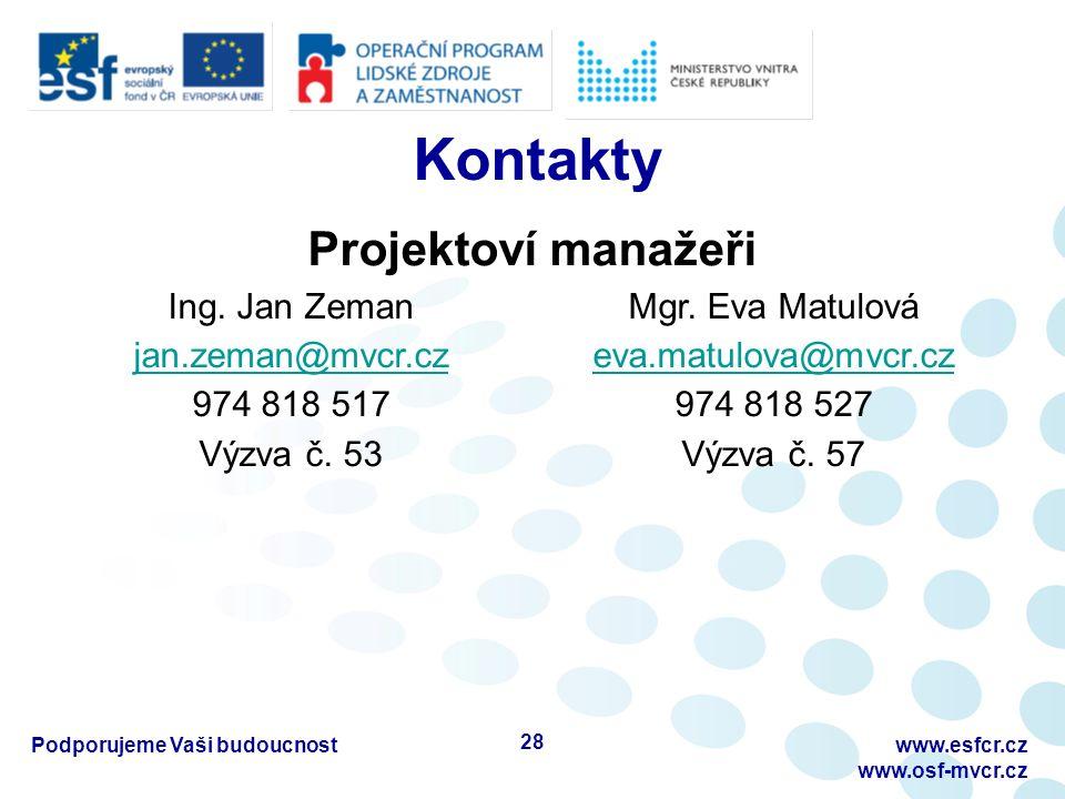 Kontakty Podporujeme Vaši budoucnostwww.esfcr.cz www.osf-mvcr.cz Projektoví manažeři Ing.