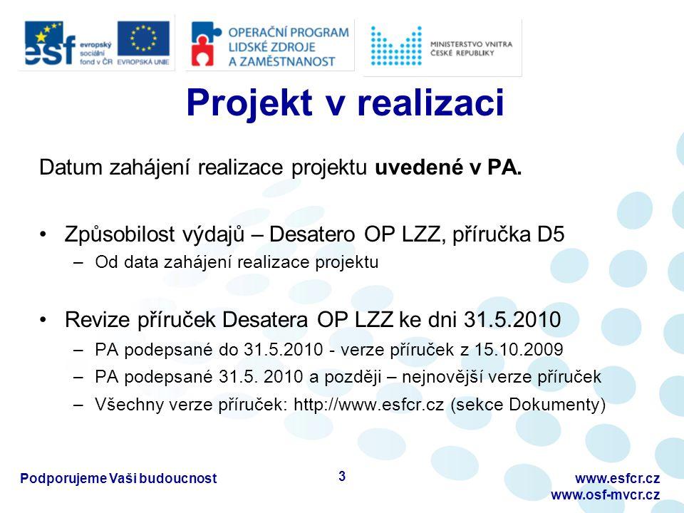Projekt v realizaci Datum zahájení realizace projektu uvedené v PA.