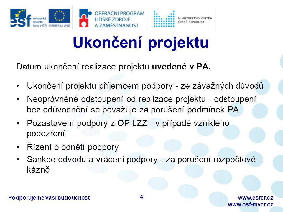 Změny a doplnění projektu Nepodstatné změny projektu Není třeba změna PA Příjemce nahlásí v nejbližší monitorovací zprávě Podstatné změny projektu Vyžaduje změnu PA (formou Dodatku k PA) Nutný souhlas poskytovatele dotace Podporujeme Vaši budoucnostwww.esfcr.cz www.osf-mvcr.cz 5