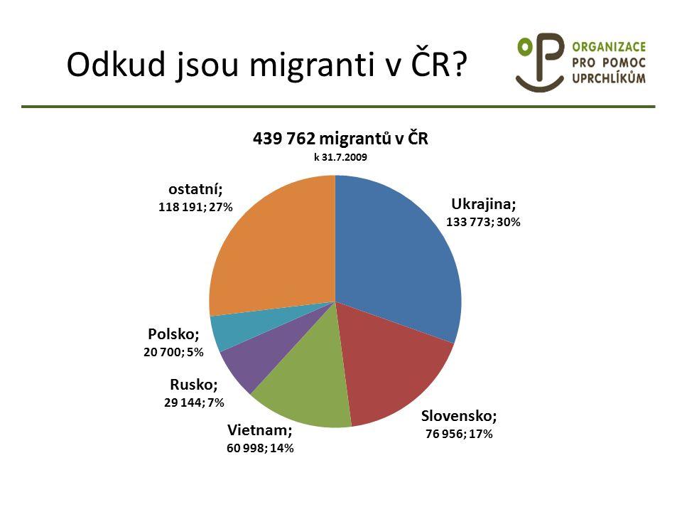 Odkud jsou migranti v ČR
