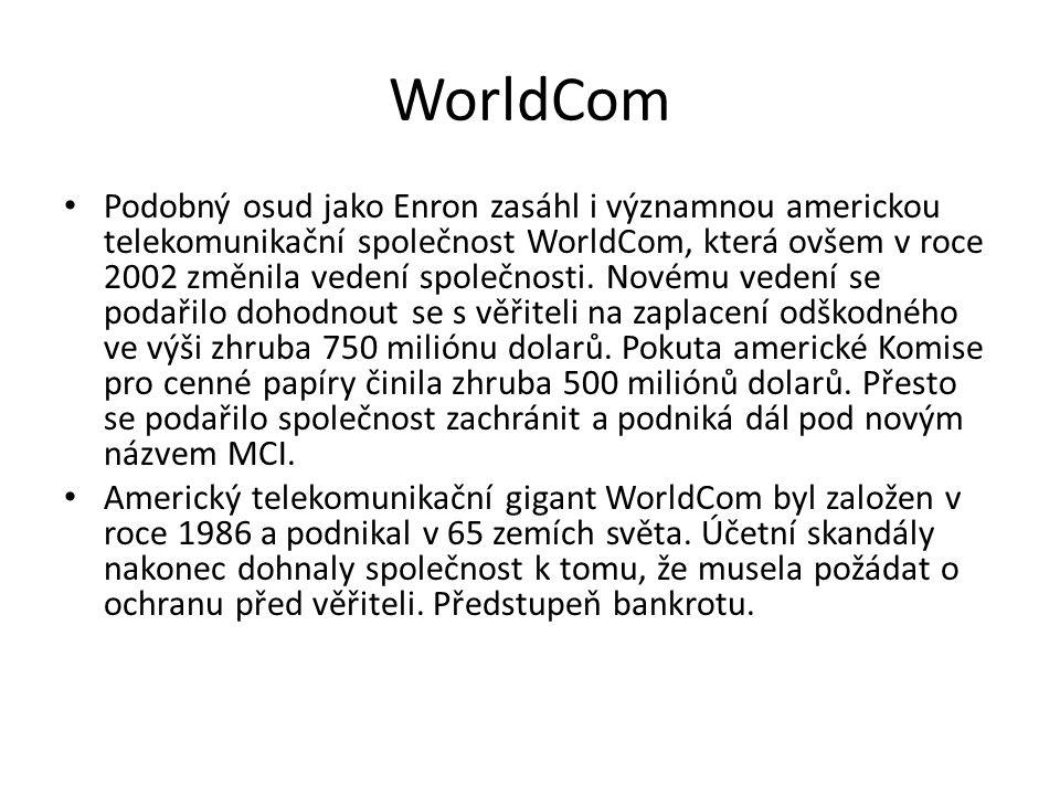 WorldCom Podobný osud jako Enron zasáhl i významnou americkou telekomunikační společnost WorldCom, která ovšem v roce 2002 změnila vedení společnosti.