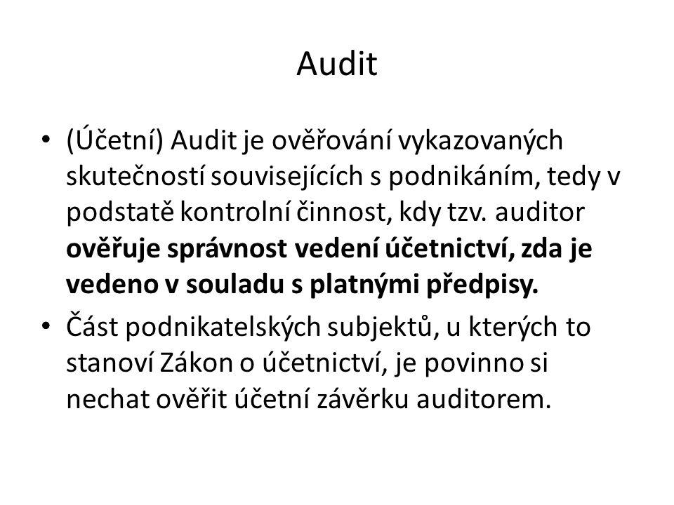 Audit (Účetní) Audit je ověřování vykazovaných skutečností souvisejících s podnikáním, tedy v podstatě kontrolní činnost, kdy tzv.