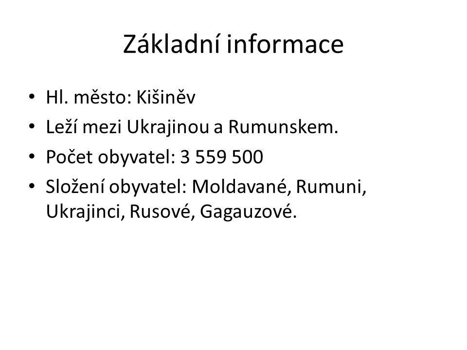 Základní informace Hl. město: Kišiněv Leží mezi Ukrajinou a Rumunskem.