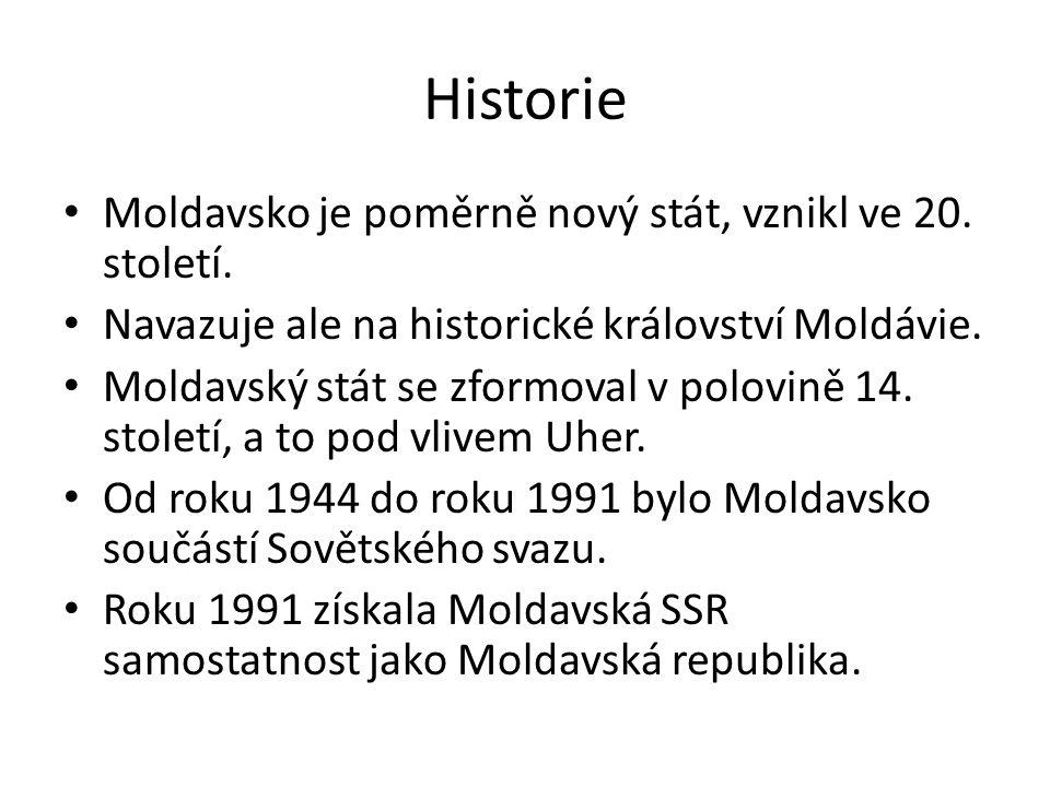 Historie Moldavsko je poměrně nový stát, vznikl ve 20.