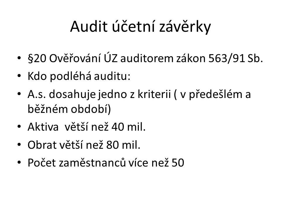 Audit účetní závěrky §20 Ověřování ÚZ auditorem zákon 563/91 Sb.