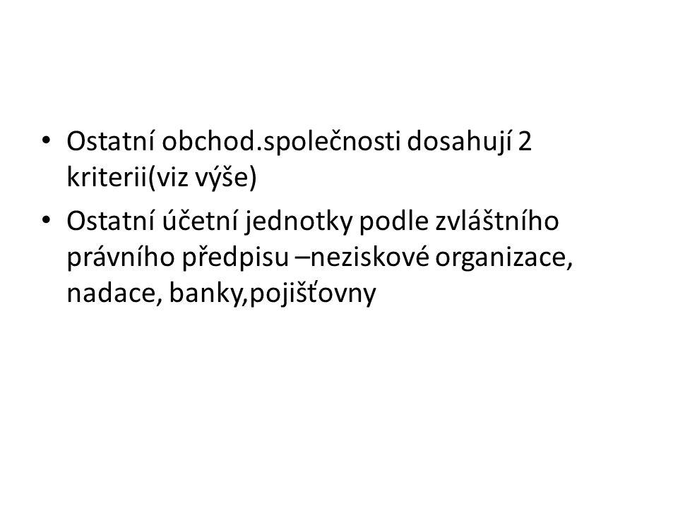 Ostatní obchod.společnosti dosahují 2 kriterii(viz výše) Ostatní účetní jednotky podle zvláštního právního předpisu –neziskové organizace, nadace, banky,pojišťovny