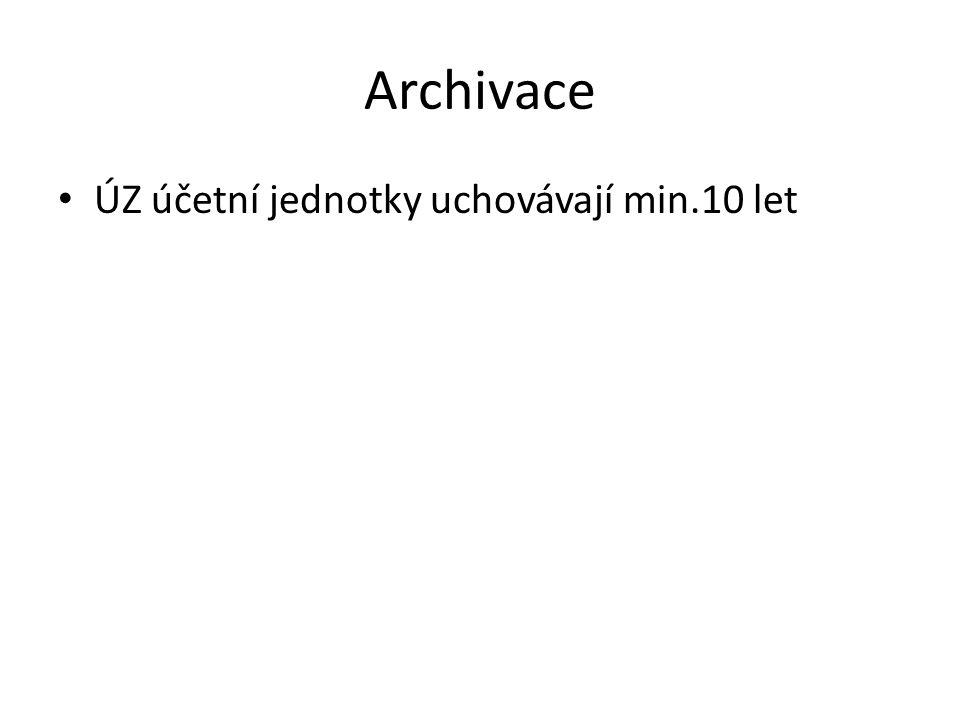 Archivace ÚZ účetní jednotky uchovávají min.10 let