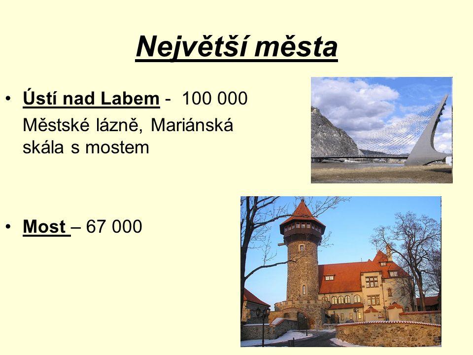 Největší města Ústí nad Labem - 100 000 Městské lázně, Mariánská skála s mostem Most – 67 000