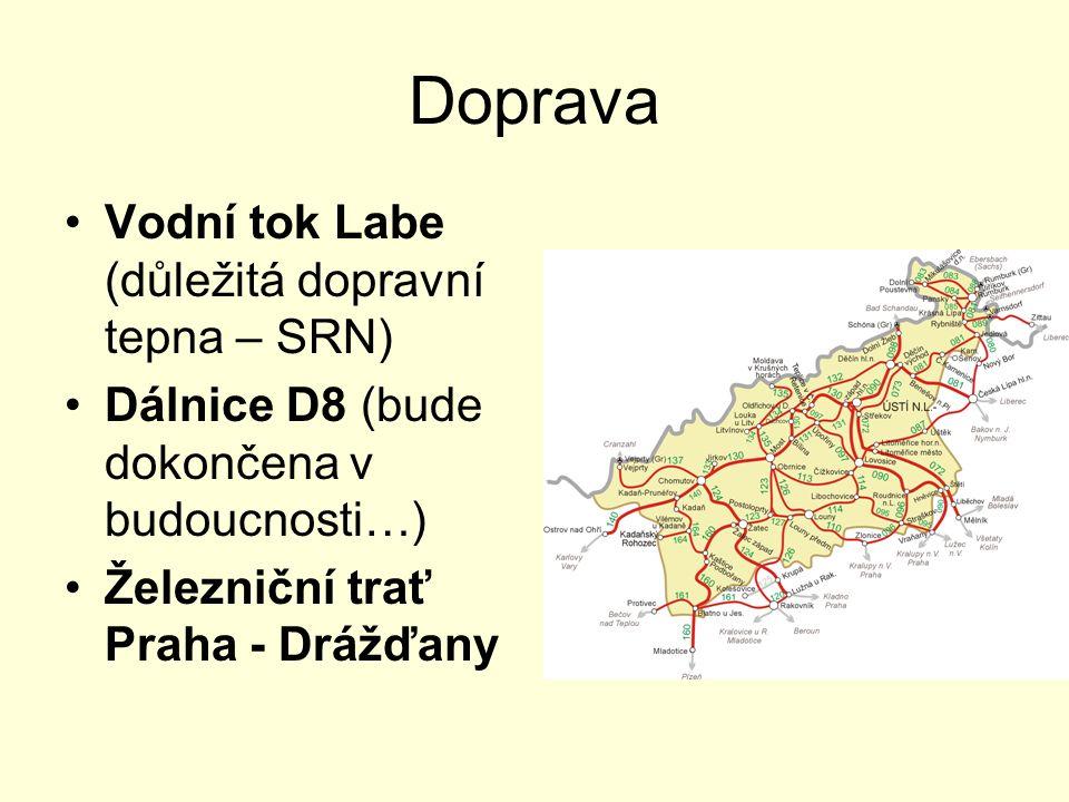 Doprava Vodní tok Labe (důležitá dopravní tepna – SRN) Dálnice D8 (bude dokončena v budoucnosti…) Železniční trať Praha - Drážďany