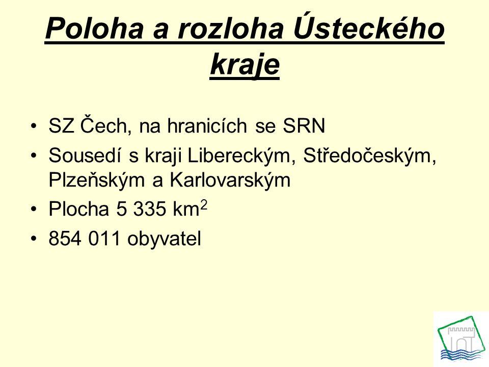 Poloha a rozloha Ústeckého kraje SZ Čech, na hranicích se SRN Sousedí s kraji Libereckým, Středočeským, Plzeňským a Karlovarským Plocha 5 335 km 2 854