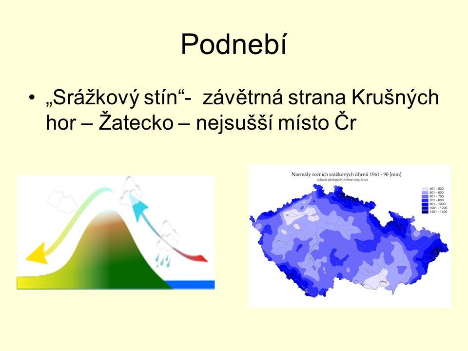 """Podnebí """"Srážkový stín""""- závětrná strana Krušných hor – Žatecko – nejsušší místo Čr"""