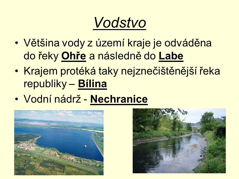 Vodstvo Většina vody z území kraje je odváděna do řeky Ohře a následně do Labe Krajem protéká taky nejznečištěnější řeka republiky – Bílina Vodní nádr