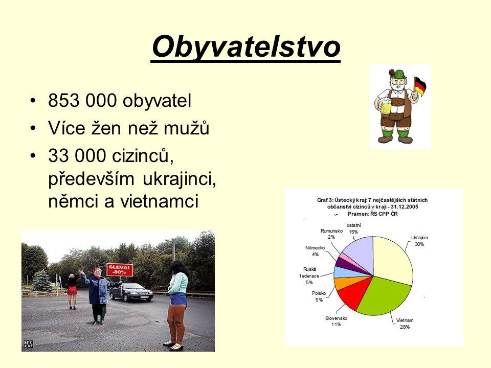 Obyvatelstvo 853 000 obyvatel Více žen než mužů 33 000 cizinců, především ukrajinci, němci a vietnamci