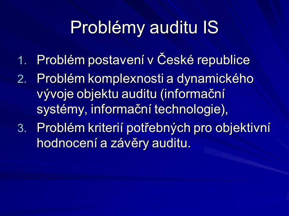 Problémy auditu IS 1. Problém postavení v České republice 2.