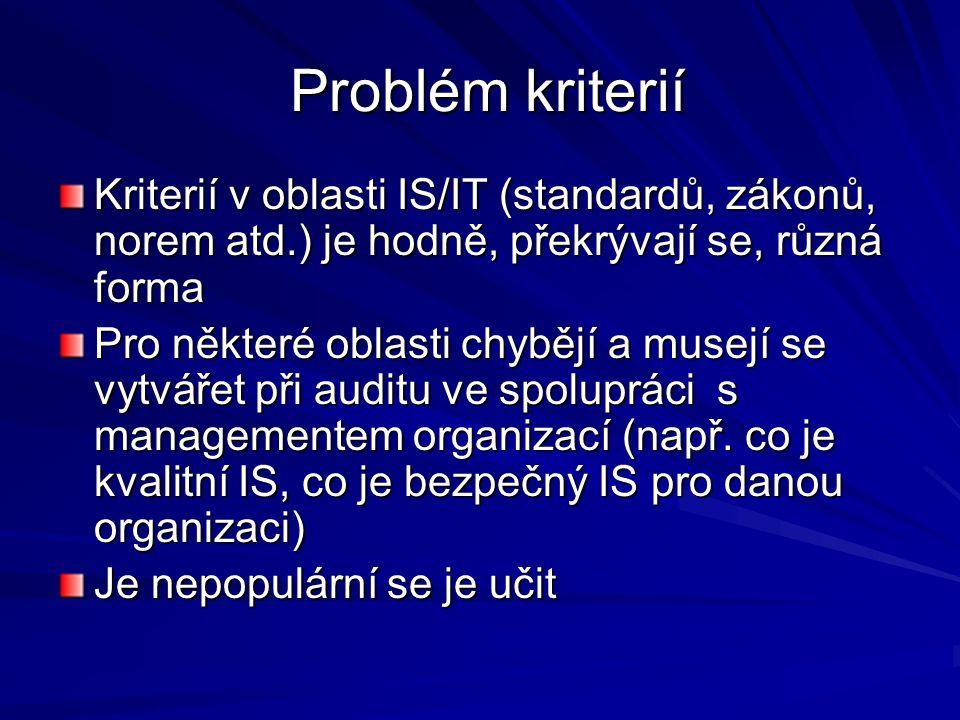 Problém kriterií Problém kriterií Kriterií v oblasti IS/IT (standardů, zákonů, norem atd.) je hodně, překrývají se, různá forma Pro některé oblasti chybějí a musejí se vytvářet při auditu ve spolupráci s managementem organizací (např.