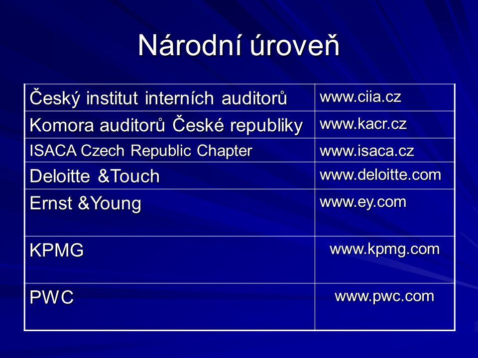 Národní úroveň Český institut interních auditorů www.ciia.cz Komora auditorů České republiky www.kacr.cz ISACA Czech Republic Chapter www.isaca.cz Deloitte &Touch www.deloitte.com Ernst &Young www.ey.com KPMGwww.kpmg.com PWCwww.pwc.com