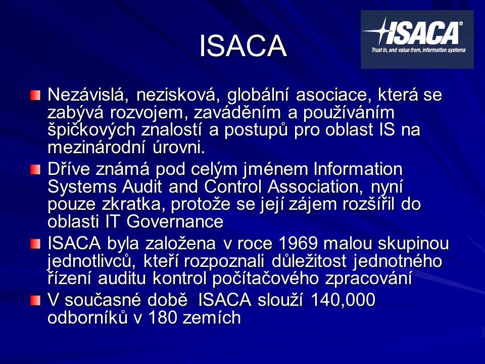 ISACA Nezávislá, nezisková, globální asociace, která se zabývá rozvojem, zaváděním a používáním špičkových znalostí a postupů pro oblast IS na mezinárodní úrovni.