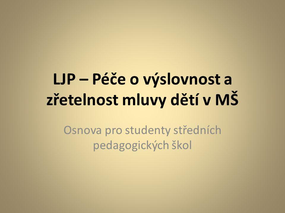 LJP – Péče o výslovnost a zřetelnost mluvy dětí v MŠ Osnova pro studenty středních pedagogických škol