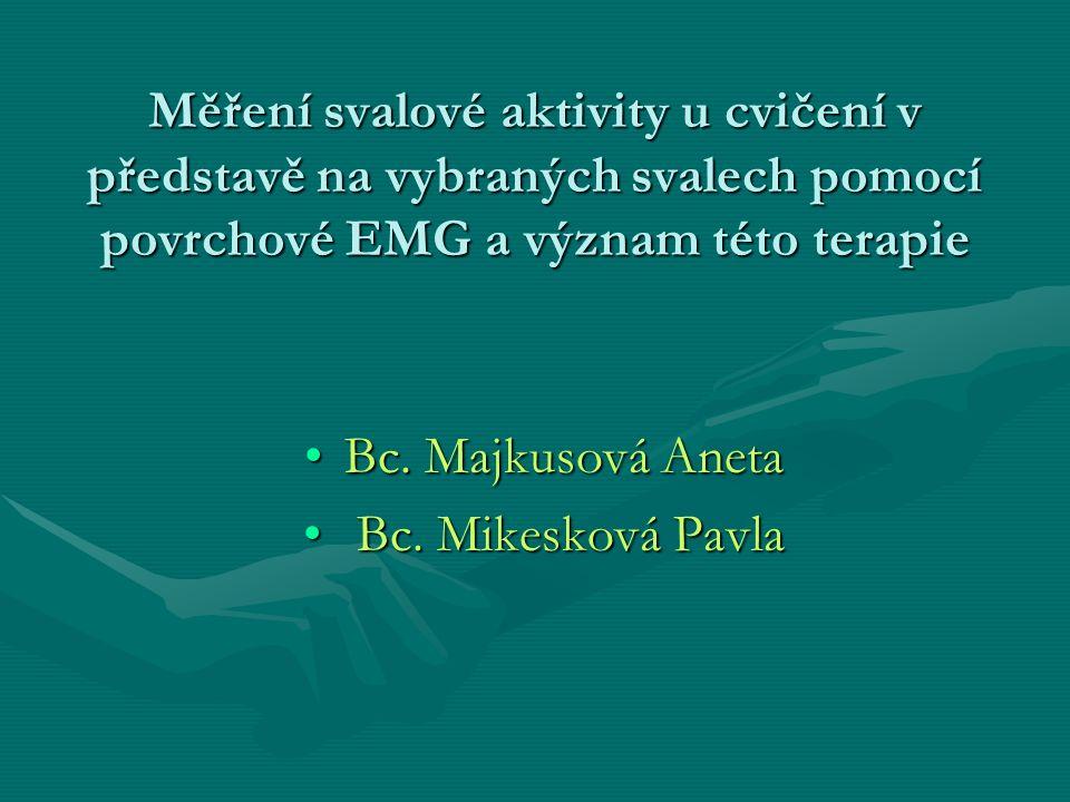 Cíl práce -zjištění, zda při představě, po zadání přesně definovaného povelu, dochází v daném svalu k aktivitě -stanovení podmínek při provádění této terapie