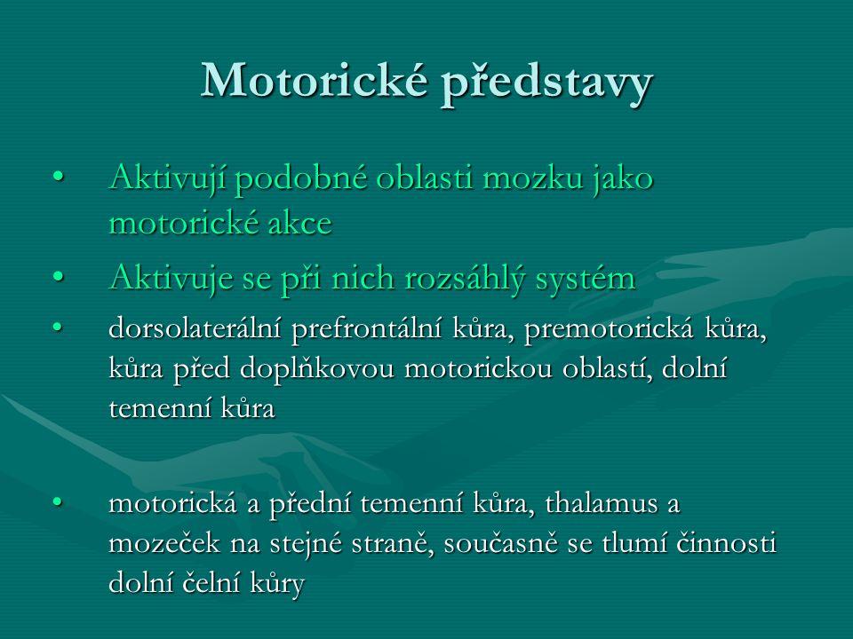 Motorické představy Aktivují podobné oblasti mozku jako motorické akceAktivují podobné oblasti mozku jako motorické akce Aktivuje se při nich rozsáhlý systémAktivuje se při nich rozsáhlý systém dorsolaterální prefrontální kůra, premotorická kůra, kůra před doplňkovou motorickou oblastí, dolní temenní kůradorsolaterální prefrontální kůra, premotorická kůra, kůra před doplňkovou motorickou oblastí, dolní temenní kůra motorická a přední temenní kůra, thalamus a mozeček na stejné straně, současně se tlumí činnosti dolní čelní kůrymotorická a přední temenní kůra, thalamus a mozeček na stejné straně, současně se tlumí činnosti dolní čelní kůry