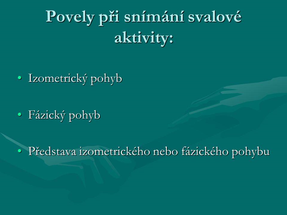 Povely při snímání svalové aktivity: Izometrický pohybIzometrický pohyb Fázický pohybFázický pohyb Představa izometrického nebo fázického pohybuPředstava izometrického nebo fázického pohybu Výsledky měření Výsledky měření