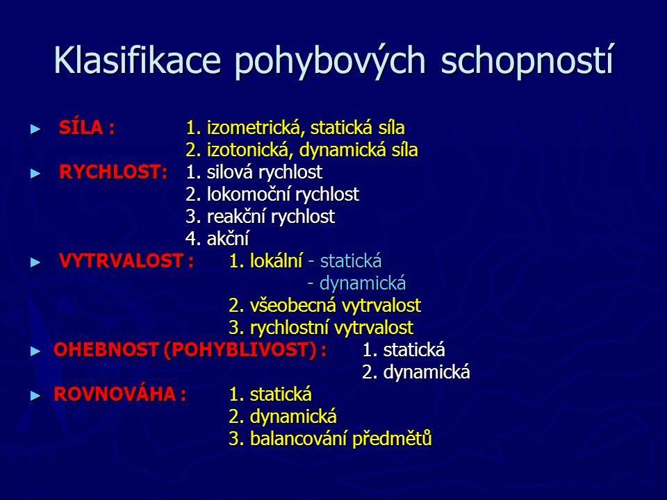 Klasifikace pohybových schopností ► SÍLA :1. izometrická, statická síla 2.