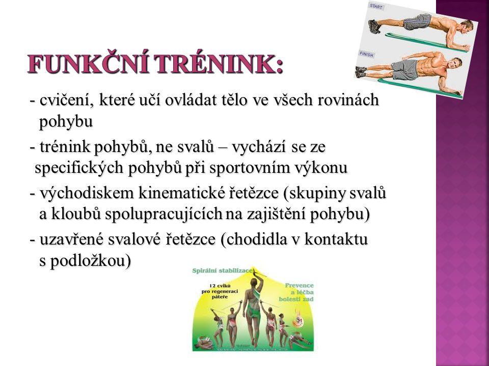 - cvičení, které učí ovládat tělo ve všech rovinách pohybu - trénink pohybů, ne svalů – vychází se ze specifických pohybů při sportovním výkonu - východiskem kinematické řetězce (skupiny svalů a kloubů spolupracujících na zajištění pohybu) - uzavřené svalové řetězce (chodidla v kontaktu s podložkou)