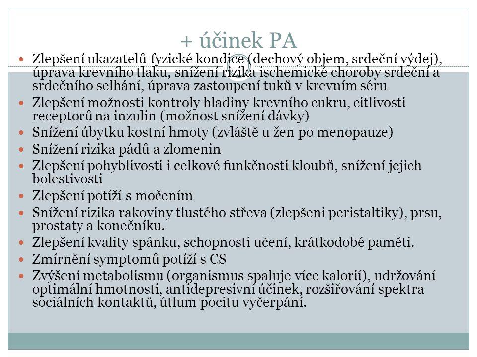 Zlepšení ukazatelů fyzické kondice (dechový objem, srdeční výdej), úprava krevního tlaku, snížení rizika ischemické choroby srdeční a srdečního selhání, úprava zastoupení tuků v krevním séru Zlepšení možnosti kontroly hladiny krevního cukru, citlivosti receptorů na inzulin (možnost snížení dávky) Snížení úbytku kostní hmoty (zvláště u žen po menopauze) Snížení rizika pádů a zlomenin Zlepšení pohyblivosti i celkové funkčnosti kloubů, snížení jejich bolestivosti Zlepšení potíží s močením Snížení rizika rakoviny tlustého střeva (zlepšeni peristaltiky), prsu, prostaty a konečníku.