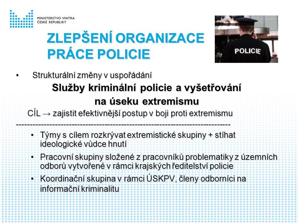 ZLEPŠENÍ ORGANIZACE PRÁCE POLICIE Strukturální změny v uspořádáníStrukturální změny v uspořádání Služby kriminální policie a vyšetřování na úseku extremismu CÍL → zajistit efektivnější postup v boji proti extremismu CÍL → zajistit efektivnější postup v boji proti extremismu------------------------------------------------------------------------------ Týmy s cílem rozkrývat extremistické skupiny + stíhat ideologické vůdce hnutíTýmy s cílem rozkrývat extremistické skupiny + stíhat ideologické vůdce hnutí Pracovní skupiny složené z pracovníků problematiky z územních odborů vytvořené v rámci krajských ředitelství policiePracovní skupiny složené z pracovníků problematiky z územních odborů vytvořené v rámci krajských ředitelství policie Koordinační skupina v rámci ÚSKPV, členy odborníci na informační kriminalituKoordinační skupina v rámci ÚSKPV, členy odborníci na informační kriminalitu