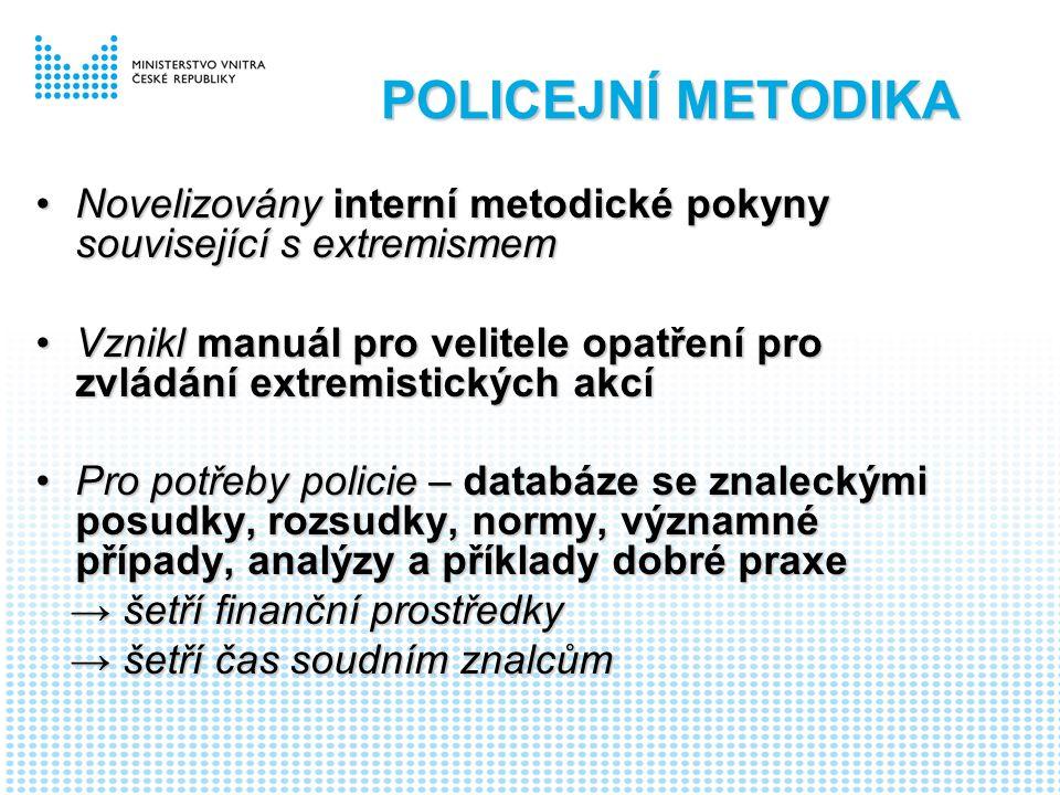 POLICEJNÍ METODIKA Novelizovány interní metodické pokyny související s extremismemNovelizovány interní metodické pokyny související s extremismem Vznikl manuál pro velitele opatření pro zvládání extremistických akcíVznikl manuál pro velitele opatření pro zvládání extremistických akcí Pro potřeby policie – databáze se znaleckými posudky, rozsudky, normy, významné případy, analýzy a příklady dobré praxePro potřeby policie – databáze se znaleckými posudky, rozsudky, normy, významné případy, analýzy a příklady dobré praxe → šetří finanční prostředky → šetří finanční prostředky → šetří čas soudním znalcům → šetří čas soudním znalcům