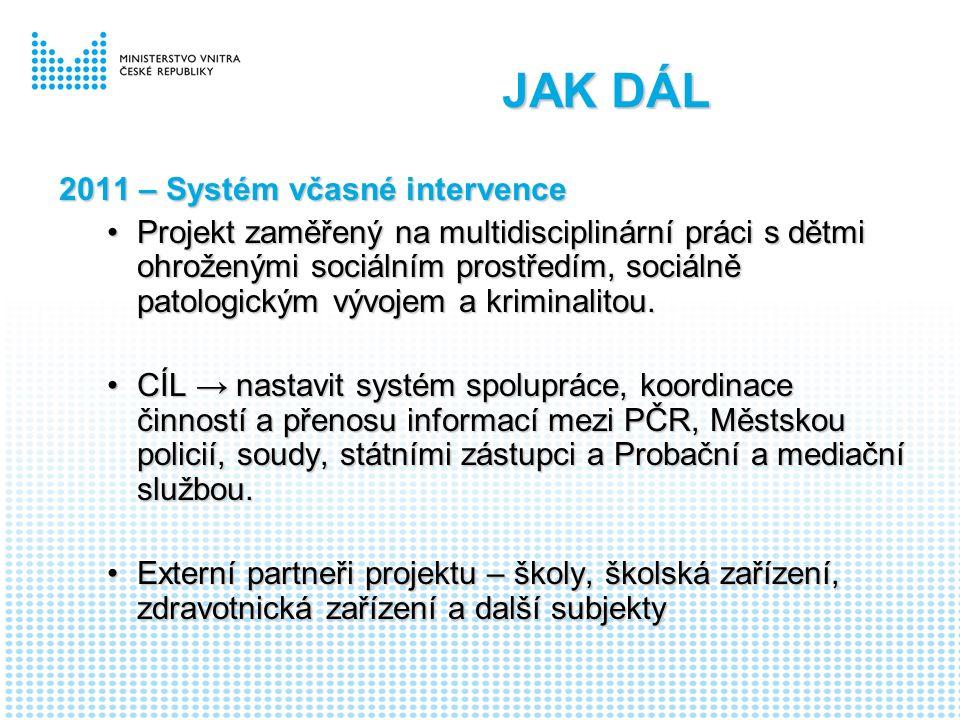 JAK DÁL 2011 – Systém včasné intervence Projekt zaměřený na multidisciplinární práci s dětmi ohroženými sociálním prostředím, sociálně patologickým vývojem a kriminalitou.Projekt zaměřený na multidisciplinární práci s dětmi ohroženými sociálním prostředím, sociálně patologickým vývojem a kriminalitou.