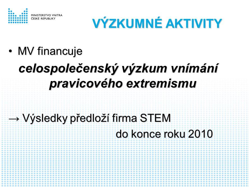 VÝZKUMNÉ AKTIVITY MV financujeMV financuje celospolečenský výzkum vnímání pravicového extremismu → Výsledky předloží firma STEM do konce roku 2010 do konce roku 2010