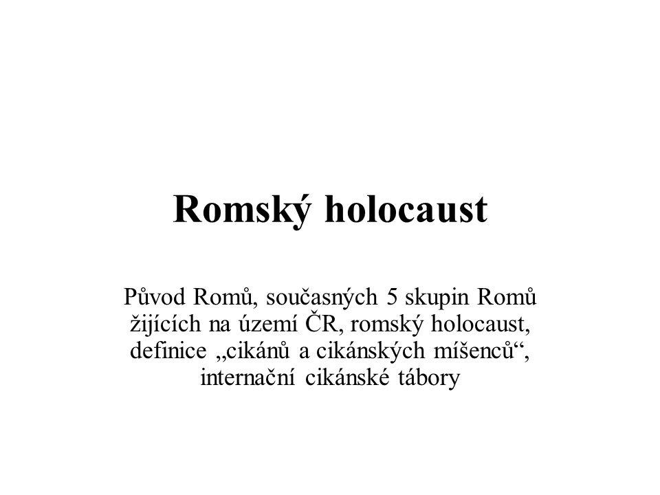 """Romský holocaust Původ Romů, současných 5 skupin Romů žijících na území ČR, romský holocaust, definice """"cikánů a cikánských míšenců , internační cikánské tábory"""