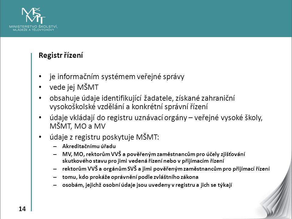 14 Registr řízení je informačním systémem veřejné správy vede jej MŠMT obsahuje údaje identifikující žadatele, získané zahraniční vysokoškolské vzdělání a konkrétní správní řízení údaje vkládají do registru uznávací orgány – veřejné vysoké školy, MŠMT, MO a MV údaje z registru poskytuje MŠMT: – Akreditačnímu úřadu – MV, MO, rektorům VVŠ a pověřeným zaměstnancům pro účely zjišťování skutkového stavu pro jimi vedená řízení nebo v přijímacím řízení – rektorům VVŠ a orgánům SVŠ a jimi pověřeným zaměstnancům pro přijímací řízení – tomu, kdo prokáže oprávnění podle zvláštního zákona – osobám, jejichž osobní údaje jsou uvedeny v registru a jich se týkají