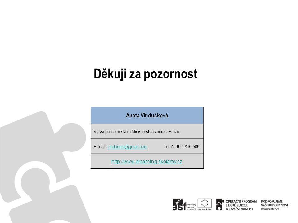 Děkuji za pozornost Aneta Vindušková Vyšší policejní škola Ministerstva vnitra v Praze E-mail: vindaneta@gmail.com Tel.