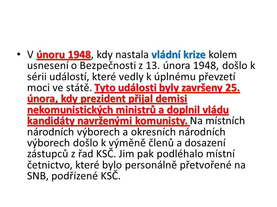 únoru 1948vládní krize Tyto události byly završeny 25.