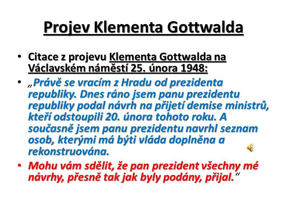 Projev Klementa Gottwalda Citace z projevu Klementa Gottwalda na Václavském náměstí 25.