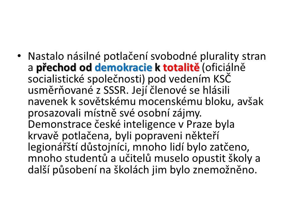 přechod od demokracie k totalitě Nastalo násilné potlačení svobodné plurality stran a přechod od demokracie k totalitě (oficiálně socialistické společnosti) pod vedením KSČ usměrňované z SSSR.