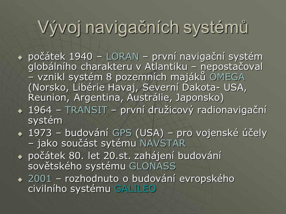  počátek 1940 – LORAN – první navigační systém globálního charakteru v Atlantiku – nepostačoval – vznikl systém 8 pozemních majáků OMEGA (Norsko, Libérie Havaj, Severní Dakota- USA, Reunion, Argentina, Austrálie, Japonsko)  1964 – TRANSIT – první družicový radionavigační systém  1973 – budování GPS (USA) – pro vojenské účely – jako součást sytému NAVSTAR  počátek 80.