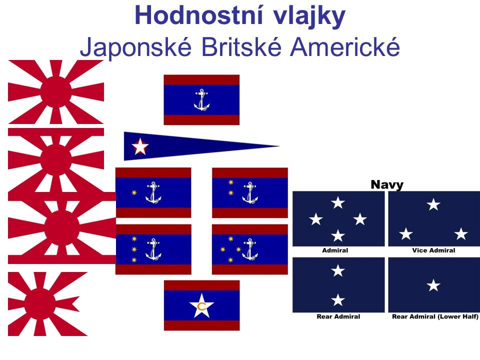 Hodnostní vlajky Japonské Britské Americké